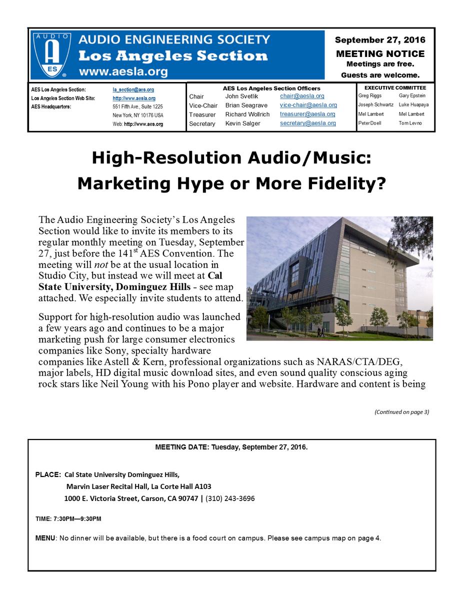 2016 September - Audio Engineering Society - Los Angeles